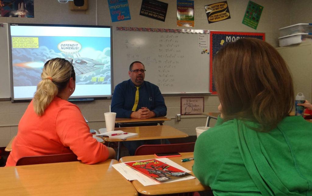 Jim leading a teacher workshop at Plainfield Middle School, Plainfield, Indiana, March 2016